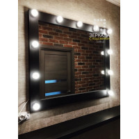 Гримерное зеркало с подсветкой из массива дерева 100х120 Черное